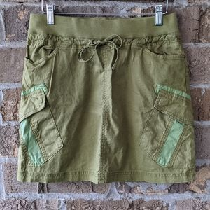 Prana Olive Green Linen Patchwork Skirt Small